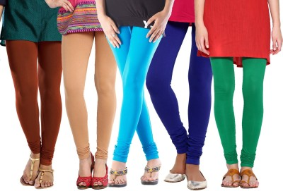 BuyNewTrend Churidar  Legging(Beige, Black, Maroon, Dark Blue, Green, Purple, Solid)