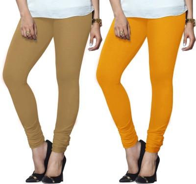 Lux Lyra Legging(Brown, Yellow, Solid) at flipkart