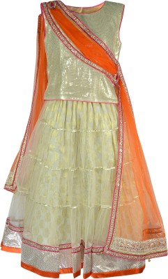 Pspeaches Girls Lehenga Choli Ethnic Wear Solid Lehenga, Choli and Dupatta Set(White, Pack of 1)
