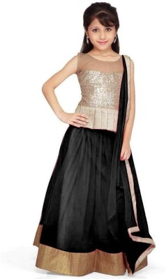 DesignDesk Self Design Lehenga, Choli and Dupatta Set(Black)