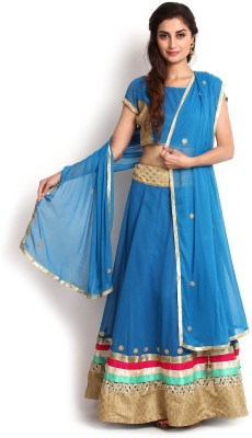 Kasturi-B Swadeshi Karigari Embellished Semi Stitched Lehenga, Choli and Dupatta Set(Blue) at flipkart