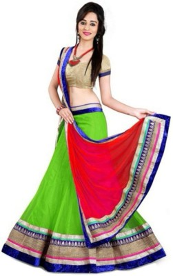 Increadible Indian Wear Solid Lehenga, Choli and Dupatta Set(Green)
