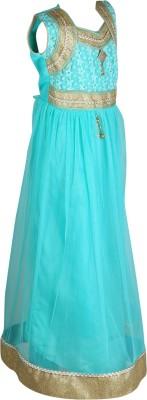 Crazeis Girls Maxi/Full Length Party Dress(Green, Sleeveless) at flipkart