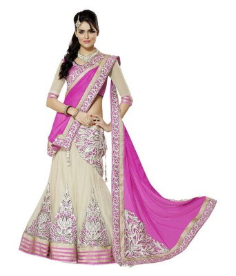 Trusha Dresses Embroidered Semi Stitched Lehenga, Choli and Dupatta Set(Pink) at flipkart