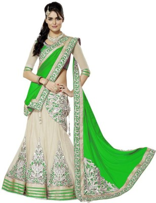 Bhanderi Enterprise Embroidered Lehenga, Choli and Dupatta Set(Green)