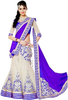Apka Apna Fashion Embroidered Lehenga, Choli and Dupatta Set(Blue)