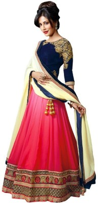 Khushali Collection Embroidered Semi Stitched Lehenga, Choli and Dupatta Set(Blue, Pink) at flipkart