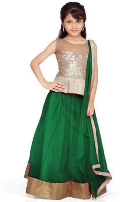 Galexy Fashion Girls Lehenga Choli Ethnic Wear Self Design Lehenga, Choli and Dupatta Set(Pink, Pack of 1)