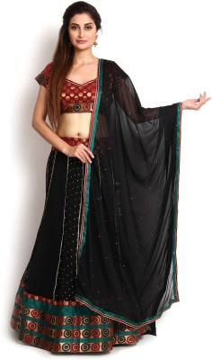 Kasturi-B Swadeshi Karigari Self Design Semi Stitched Lehenga, Choli and Dupatta Set(Red, Black) at flipkart