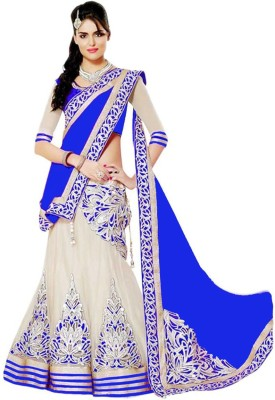 DD Collection Embroidered Lehenga, Choli and Dupatta Set(Blue)