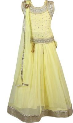 Crazeis Girls Lehenga Choli Ethnic Wear Self Design Lehenga, Choli and Dupatta Set(Yellow, Pack of 1) at flipkart