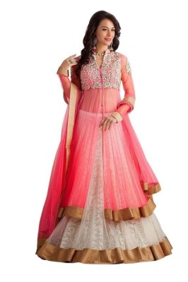 HC Embroidered Lehenga, Choli and Dupatta Set(Pink)