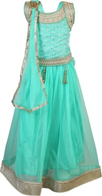 Crazeis Girls Lehenga Choli Ethnic Wear Self Design Lehenga, Choli and Dupatta Set(Green, Pack of 1) at flipkart