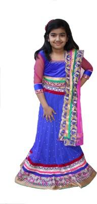 Ritvee Girls Lehenga Choli Ethnic Wear Embellished Lehenga, Choli and Dupatta Set(Multicolor, Pack of 1)
