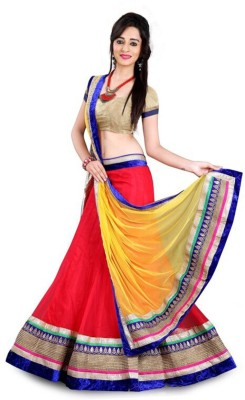 Ganes Embroidered Lehenga, Choli and Dupatta Set(Red)
