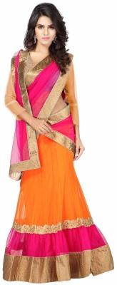 DarkFashion Self Design Semi Stitched Lehenga, Choli and Dupatta Set(Pink, Orange) at flipkart