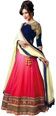 Lolla Fashion Embroidered Semi Stitched Lehenga, Choli and Dupatta Set(Multicolor) at flipkart