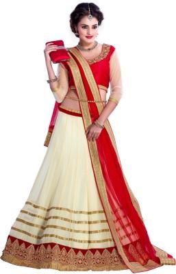 Ganga Fashion Embroidered Lehenga, Choli and Dupatta Set(White, Red)