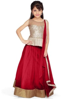 DesignDesk Self Design Lehenga, Choli and Dupatta Set(Red)