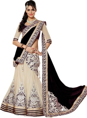 Bhanderi Enterprise Embroidered Lehenga, Choli and Dupatta Set(Black)