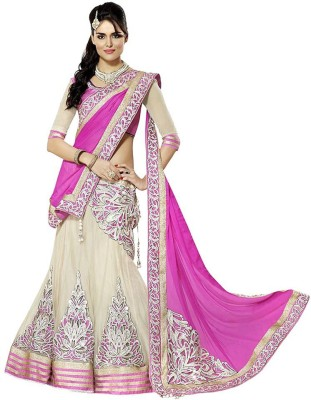 Decent Fabric Embroidered Women's Lehenga, Choli and Dupatta Set(Stitched)