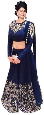 Khodal Fashion Embroidered Semi Stitched Lehenga, Choli and Dupatta Set(Blue) at flipkart