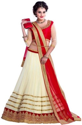 Ganes Embroidered Lehenga, Choli and Dupatta Set(Beige)