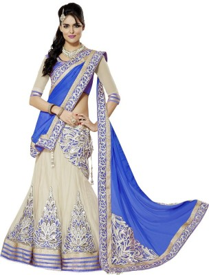 V&M Embroidered Lehenga, Choli and Dupatta Set(Blue)