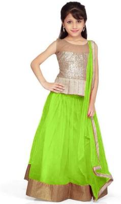 Design Desk Girls Lehenga Choli Ethnic Wear Self Design Lehenga, Choli and Dupatta Set(Green, Pack of 1)