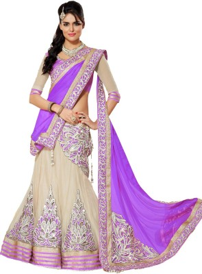 PRN Embroidered Lehenga, Choli and Dupatta Set(Purple)