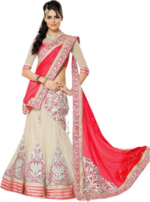PRN Embroidered Lehenga, Choli and Dupatta Set(Red)