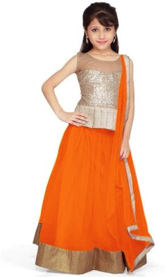 Design Desk Girls Lehenga Choli Fusion Wear Self Design Lehenga, Choli and Dupatta Set(Orange, Pack of 1)