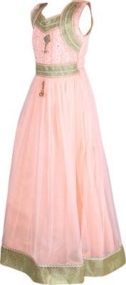 Crazeis Girls Maxi/Full Length Party Dress(Orange, Sleeveless) at flipkart
