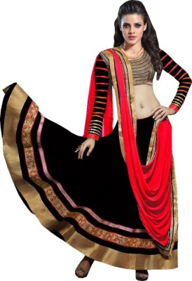 Fashion Surat Self Design Semi Stitched Ghagra, Choli, Dupatta Set(Black) at flipkart
