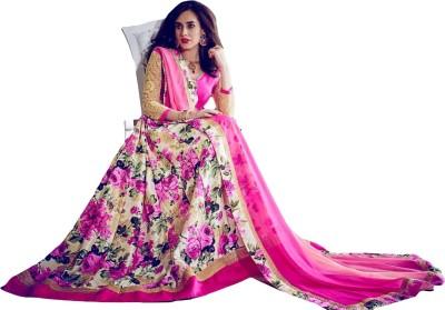 Sitaram Brocade, Art Silk, Organza Embellished, Embroidered, Floral Print Semi-stitched Salwar Suit Dupatta Material