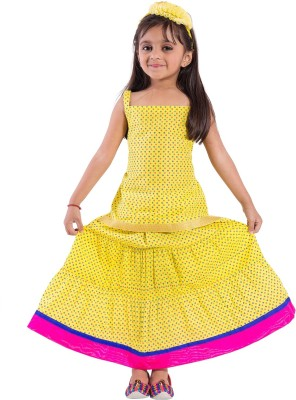 Decot Paradise Girls Lehenga Choli Fusion Wear Polka Print Lehenga Choli(Multicolor, Pack of 1)
