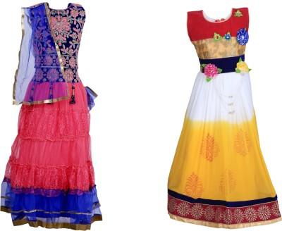 Crazeis Girls Lehenga Choli Ethnic Wear Self Design Lehenga, Choli and Dupatta Set(Multicolor, Pack of 1) at flipkart