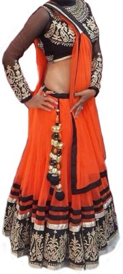 juvila Embroidered Semi Stitched Lehenga, Choli and Dupatta Set(Orange) at flipkart