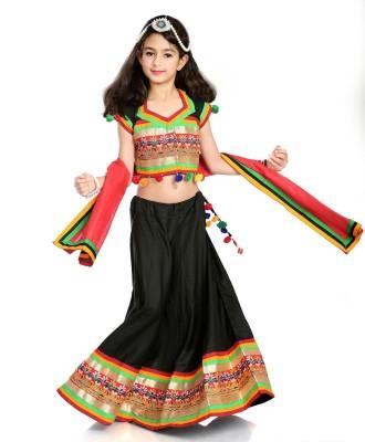Little Pockets Store Girls Lehenga Choli Party Wear, Ethnic Wear, Western Wear Embroidered Lehenga Choli(Black, Pack of 1) at flipkart