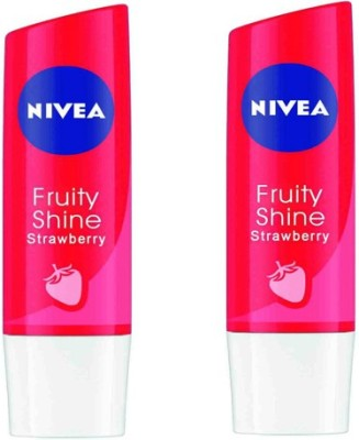 Nivea Fruity Shine Pack of 2 Strawberry(4.8 g)