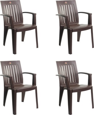 Cello Furniture Prominent Plastic Living Room Chair(Finish Color - Ice Brown)