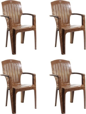 Cello Plastic Living Room Chair(Finish Color - S Brown)