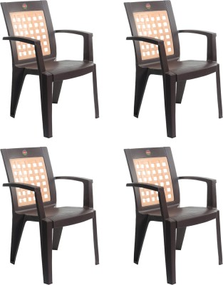 Cello Plastic Outdoor Chair(I-Brown, Set of 4)