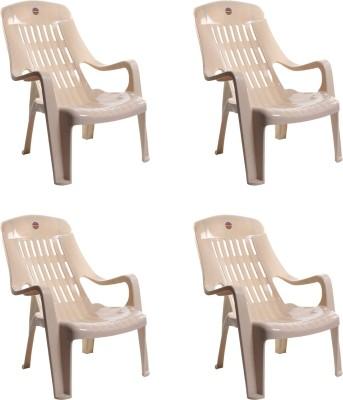 Cello Plastic Outdoor Chair(Beige, Set of 4)