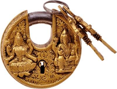 Aesthetic Decors LOCK W/ GANESH LAXMI DESIGN RD. SHAPE Padlock(Antique Fine Gold)