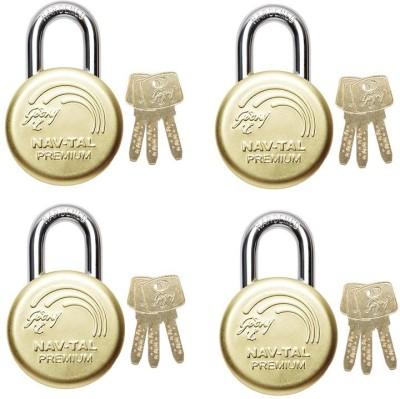 Godrej NAVTAL PREMIUM DELUXE HARDENED LOCK (3 KEYS) PACK OF 4 Padlock(GOLDEN)