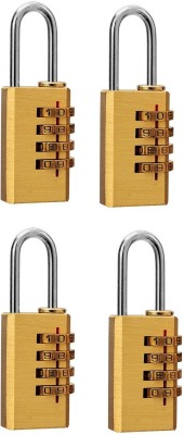 DOCOSS Set Of 4-4 Digit Brass Small Number Bag Travel Luggabe Resettable Password Safety Lock(Gold)  available at flipkart for Rs.830