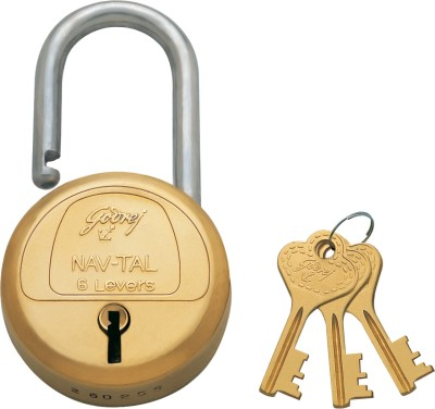 Godrej 6 Levers - Long Shackle - 3 Key Lock(Gold)