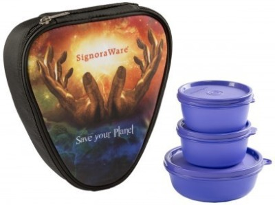 Signoraware Galaxy Sleek   Violet 3 Containers Lunch Box 700 ml