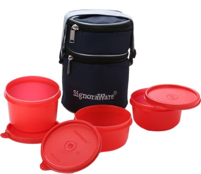 Signoraware Officer Lunch Box with Bag 3 Containers Lunch Box 1070 ml